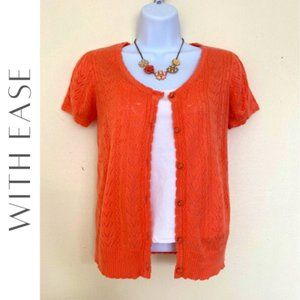WITH EASE Pointelle Knit Short Sleeve Cardigan, S